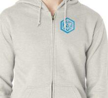 Ingress Game Logo over left Breast - Blue (Resistance) Zipped Hoodie