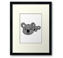 sweet little baby koala cute mamapapa child baby koala family Framed Print