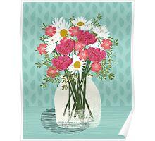 Vase of Daisies illustration Mother's Day art print Andrea Lauren Floral flowers spring summer garden Poster