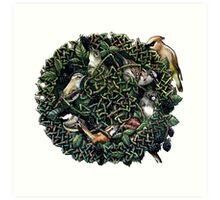 Blackberry Bramble Songbirds Knot Wreath Art Print