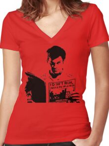 Dexter I don't Run, I make people run Women's Fitted V-Neck T-Shirt
