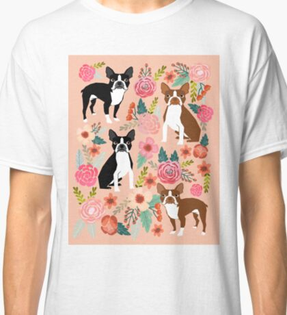 Boston Terrier florals pink peach pastel flowers spring summer pet portrait gifts for boston terrier owners Classic T-Shirt