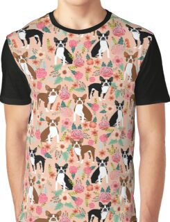 Boston Terrier florals pink peach pastel flowers spring summer pet portrait gifts for boston terrier owners Graphic T-Shirt