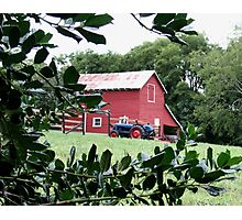 """Red Barn Through The Green Foliage""... prints and products Photographic Print"