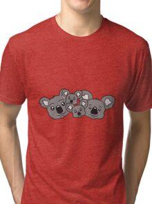 sweet little baby koala cute mamapapa 2 children couple faces heads family Tri-blend T-Shirt