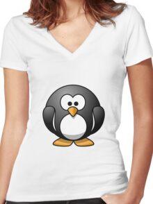 Cartoon Penguin Women's Fitted V-Neck T-Shirt