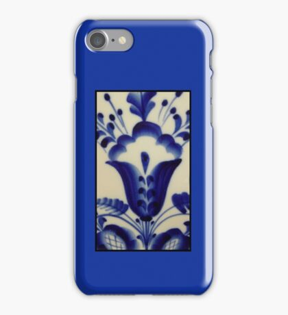 Royal Dutch Blue Delft Tulip Folk Art Kirsten Designs iPhone Case/Skin