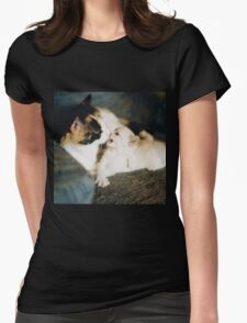 CALICO CAT AND WHITE KITTY Womens Fitted T-Shirt