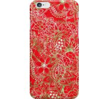 Modern red green floral hand drawn watercolor iPhone Case/Skin