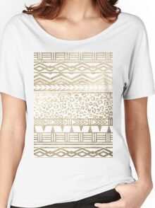 Modern faux gold foil aztec leopard pattern Women's Relaxed Fit T-Shirt