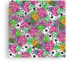 Modern bright pink floral bouquet black dots  Canvas Print