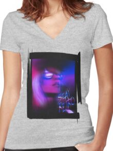 Stay Retro! Women's Fitted V-Neck T-Shirt