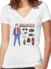 Back to the Future : Time Traveler Essentials 1985 Women's Fitted V-Neck T-Shirt
