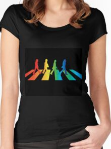 The Beatles Abbey Road Rainbow Women's Fitted Scoop T-Shirt