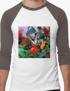 BUTTERFLY FLOWERS 1 Men's Baseball ¾ T-Shirt