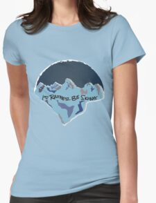 I'd Rather Be Skiing - Blue Womens Fitted T-Shirt