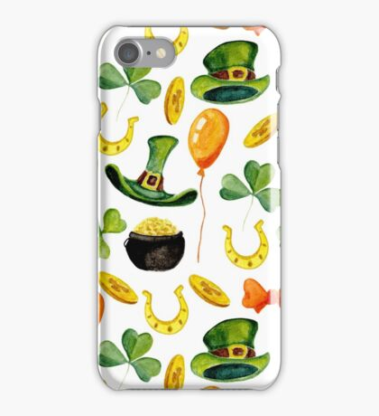 Patrick`s day pattern. Watercolor iPhone Case/Skin