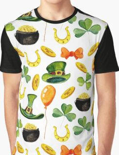 Patrick`s day pattern. Watercolor Graphic T-Shirt