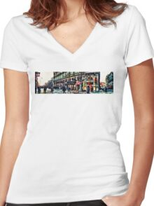 Vienna street Women's Fitted V-Neck T-Shirt