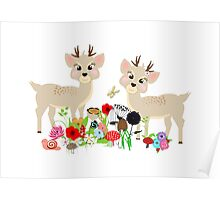 Cute Whimsical Woodland Animals Scene Poster