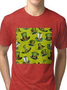 Leprechaun hats green pattern  Tri-blend T-Shirt
