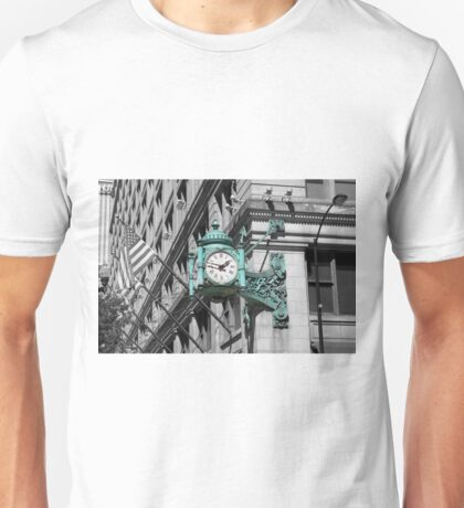 Marshall fields clock green chicago black and white photo Unisex T-Shirt