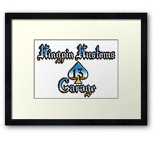 Kingpin Kustoms Garage chrome design Framed Print