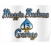 Kingpin Kustoms Garage chrome design Poster