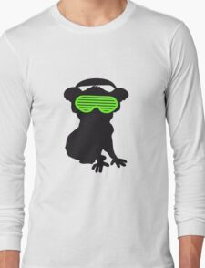 celebrate party music dj silhouette glasses headphones koala dancing club funky Long Sleeve T-Shirt