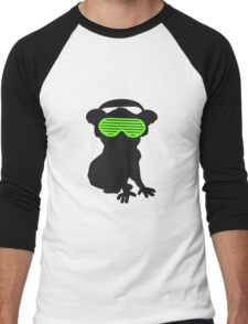 celebrate party music dj silhouette glasses headphones koala dancing club funky Men's Baseball ¾ T-Shirt