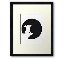 moon cliff night howling dark werewolf who koala sitting vollmond sunlight outline design Framed Print