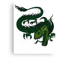 Fun Smiling Flying Green Dragon Canvas Print