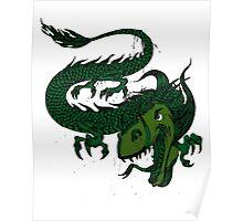 Fun Smiling Flying Green Dragon Poster