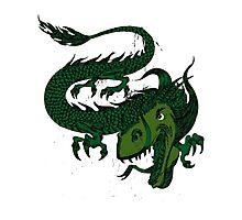 Fun Smiling Flying Green Dragon Photographic Print