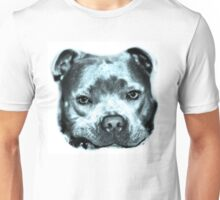 Staffie Dog Face drawing in blue Unisex T-Shirt