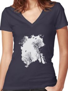 White forest silhouette on a range of backgrounds Women's Fitted V-Neck T-Shirt