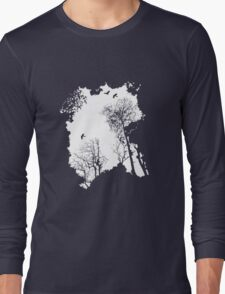 White forest silhouette on a range of backgrounds Long Sleeve T-Shirt