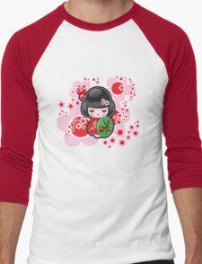 Japanese Kokeshi Doll Men's Baseball ¾ T-Shirt