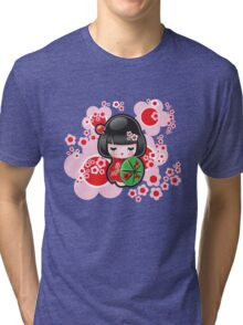 Japanese Kokeshi Doll Tri-blend T-Shirt
