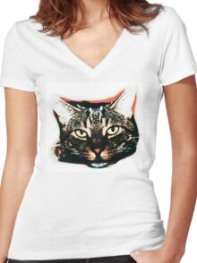 Pop art cat face in colour Women's Fitted V-Neck T-Shirt
