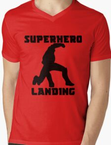 Superhero Landing Mens V-Neck T-Shirt