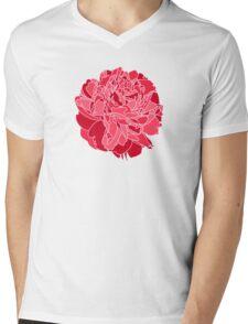 Red Peony Mens V-Neck T-Shirt