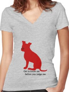 Know Me Before You Judge Me pit bull logo Women's Fitted V-Neck T-Shirt