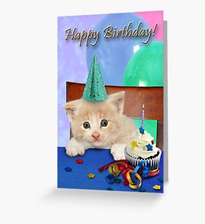Birthday Tan Tabby Kitten Greeting Card