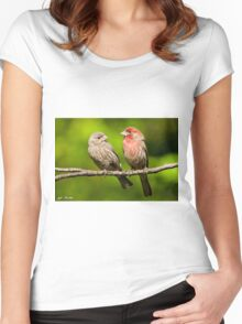 Pair of House Finches in a Tree Women's Fitted Scoop T-Shirt