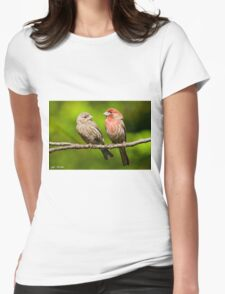 Pair of House Finches in a Tree Womens Fitted T-Shirt