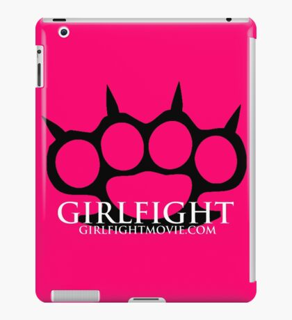 GIRLFIGHT - Black Brass Knuckles on Pink iPad Case/Skin