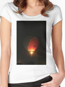 air balloons at night Women's Fitted Scoop T-Shirt