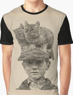 Cats On My Hat, Digital Drawing Graphic T-Shirt