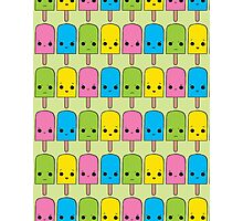 Rainbow Popsicle Pattern Green Photographic Print